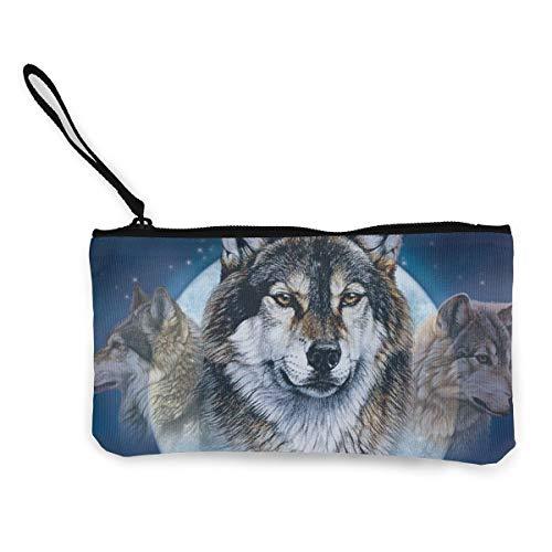 Wolf Pack Womens Canvas Coin Purse Mini Change Wallet Pouch-Card Holder Phone Wallet Storage Bag,Pencil Pen Case