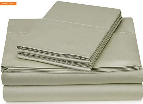 Mikash New Soft Pinzon 400-Thread-Count Egyptian Cotton Sateen Hemstitch Sheet Set - Queen, Sage | Style 84597897