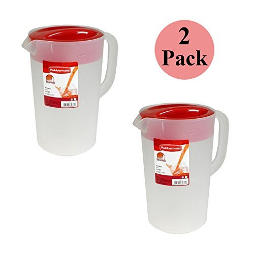 Rubbermaid 071691306320 1 Gallon Servin' Saver Pitcher (Set of 2), 1, Red ()