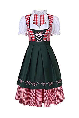 (COSMOVIE Women Oktoberfest Costume German National Style Costume Pink Dirndl Fancy Dress Halloween)