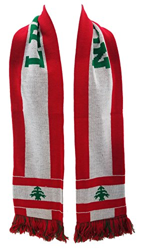 National Soccer Team Lebanon Scarf  Red  One Size