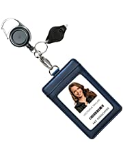 Genuine Leather ID Badge Holder Wallet with Heavy Duty Carabiner Retractable Reel, Key Ring and Metal Clip, 3 Card Pockets. Holds Multiple Cards & Keys. Bonus Key Chain Flashlight.