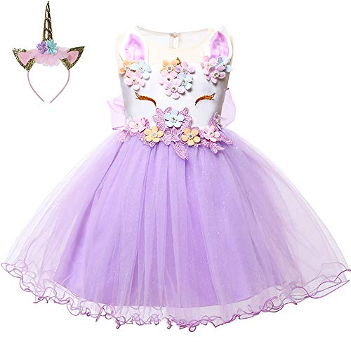 LZH Baby Girl Unicorn Flower Dress Bowknot Lace Birthday Party Baptism Gown ()