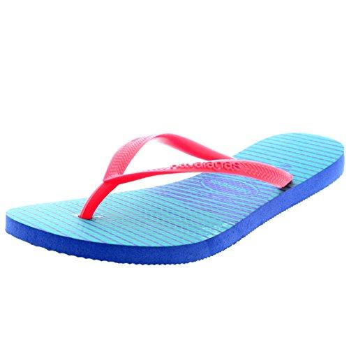 Lumière Slim Havaianas Vacances Plage Sandales Graphic Bleu Tongs Plat Eté Femmes ARwFzq