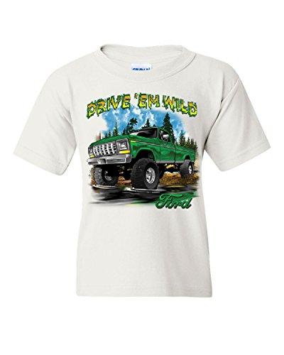 Mud Trucks (Drive 'Em Wild Youth T-Shirt Ford Pickup Trucks F-150 Offroad Mud Ride Kids Tee White S)