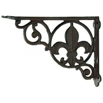 2 Cast Iron Fleur De Lis Decorative Wall Shelf Brackets