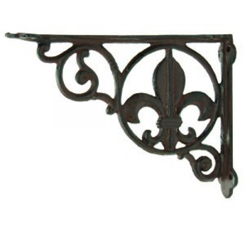 2 Cast Iron Fleur de Lis Decorative Wall Shelf -