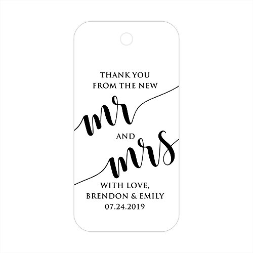 Thank You From the New Mr & Mrs Custom Personalized Wedding Gift Party Favor Tags - 30 ct by PrettySweetParty