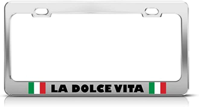 LA DOLCE VITA ITALIAN FLAG MOTORCYCLE LICENSE FRAME