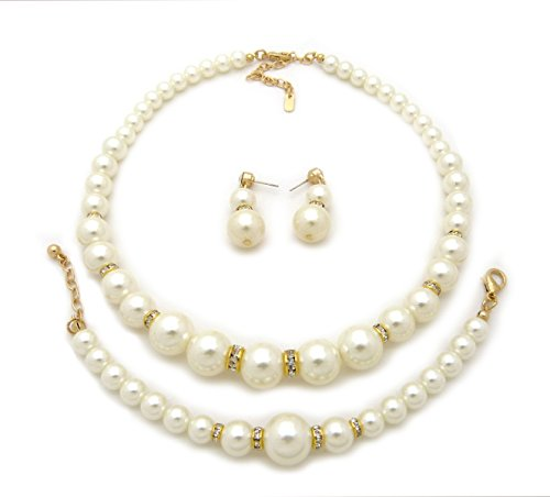Rhinestone Trimmed Simulated Pearl Necklace, Bracelet, Pierced Earring 3 Set (Cream) (Ivory Womens Necklace)