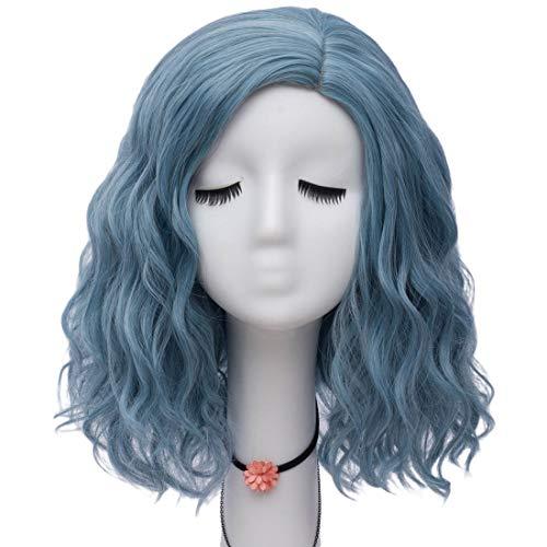 SL Women Lolita Multicolor 50cm Long Curly Halloween Cosplay Wigs+Cap (Pastel Blue)]()