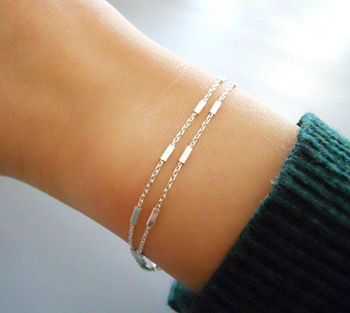 Handmade Dainty Double Stranded Sterling Silver Bracelet ()