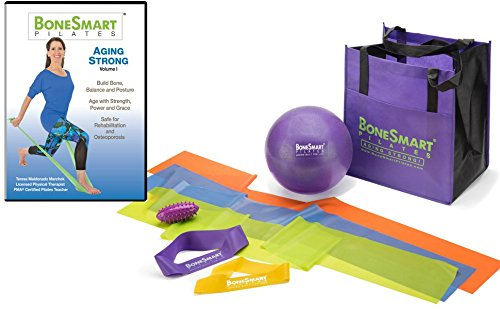 BoneSmart Pilates Aging Strong VOL I with Enhanced Props Bundle - Exercise to Build Bone, Avoid Injury, Age Strong (Best Workout To Tone Buttocks)