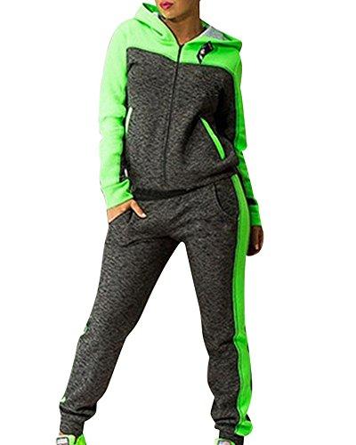 Damen Jogginganzug Jacke Hose Sportanzug Sporthose Fitness Trainingsanzug Grün S