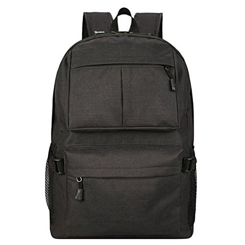 e5b01d232 ... Casual Excursiones Escolares Bolso Negro. Bueno wreapped Mochila para  Portátil Hombre Mujer Color Sólido Ordenador Bolsa con Puerto de Carga USB