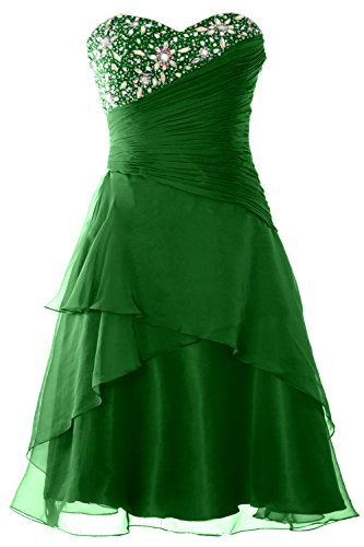 Women Party Strapless Tiered Cocktail Green Gown Short Formal Prom Dress MACloth Aq0dHqw