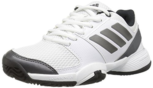 Barricade 2 Tennis Shoe - adidas Originals Boys' Barricade Club Xj Tennis Shoe, White/Night Metallic/Black, 2 Medium US Big Kid