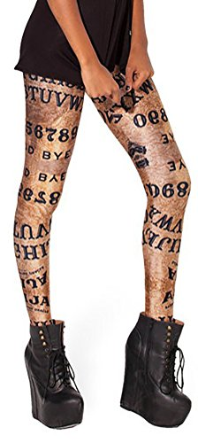 QZUnique Women's Skinny Letter Pattern Shaping Stretch Leggings Pants