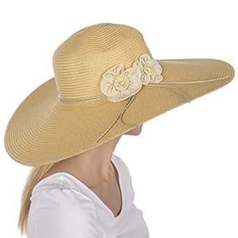Sakkas 5241LF Bella UPF 50+ 100% Paper Straw Flower Accent Wide Brim Floppy Hat - Natural - One Size