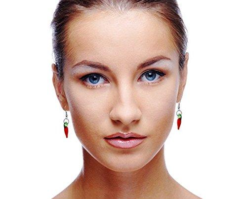 Ecloud Shop 1 Pair Fashion Red Chili Pepper Dangle Murano Lampwork Earrings ()