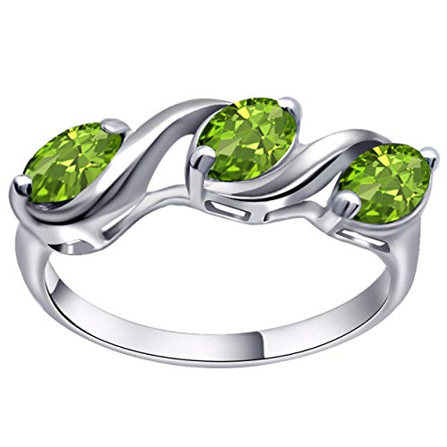 925 Sterling Silver 1.50 Carat Peridot Ring ()