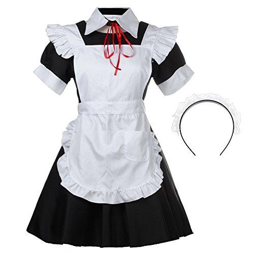 [Bonamana Women's Halloween Lolita Maid Costume French Apron Maid Dress Costume] (Halloween French Maid Costumes)