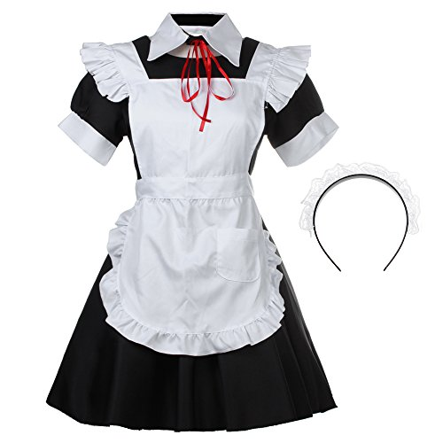 Bonamana Women's Halloween Lolita Maid Costume French Apron Maid Dress Costume (Cute Halloween Dress)