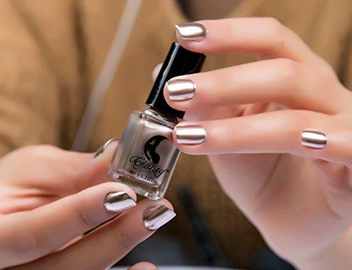 Mirror Silver Nail Polish,Vovomay Nail Cuticle Guard Skin Protector UV/LED Gel Nail Polish Nail Polish Plating Metal Color (Glod)