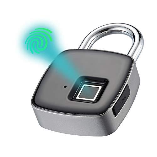 Fingerprint Padlock, iWings Keyless Biometric Lock for Gym, Locker, Door, Backpack, Luggage Suitcase, Bike, Office, IP65 Waterproof, Micro-USB Rechargeable,Black