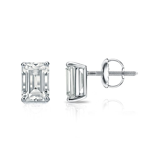 (Diamond Wish 14k White Gold Emerald-Cut Diamond Stud Earrings (1 1/2 carat TW, O.White, SI1-SI2, IGI Certified) 4-Prong Basket, Screw-Back)