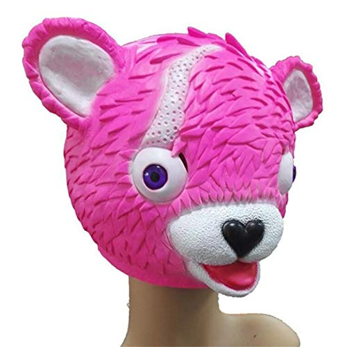 Inverlee Cuddle Team Leader Pink Bear Game Mask Melting Face Adult Latex Costume Toy -