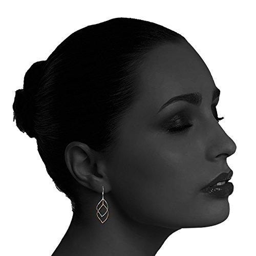 Rose Gold Plated Sterling Silver Double Linear Loops Design Twist Wave Drop Earrings for Women Girls by JORA (Image #3)