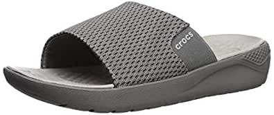 Crocs Men's LiteRide Mesh Slide Sandal, Smoke/Pearl White, 7 M US