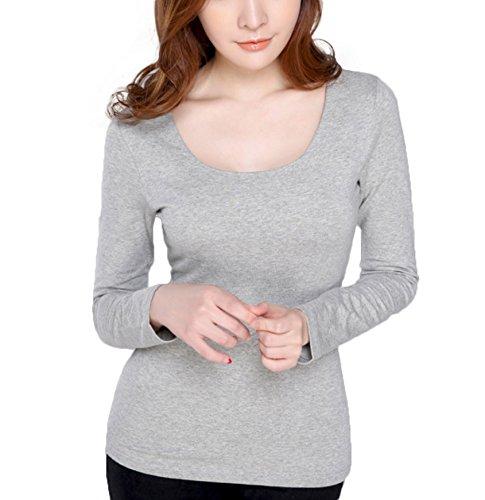 WSLCN - Camiseta de manga larga - Básico - Manga Larga - para mujer gris