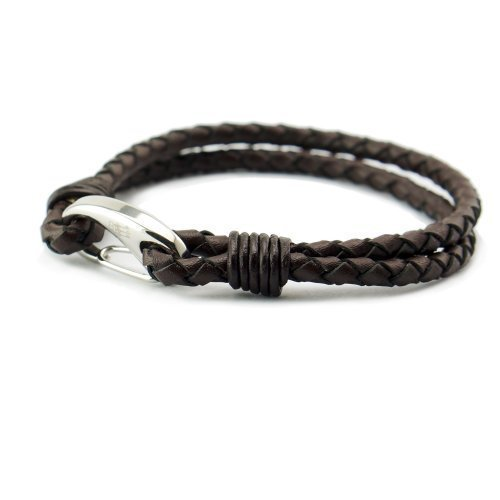 Three Keys Jewelry Mens Genuine Leather Braided Bracelet with Stainless Steel Clasp Leather Braided Bangle for Men Dark Brown High Polish