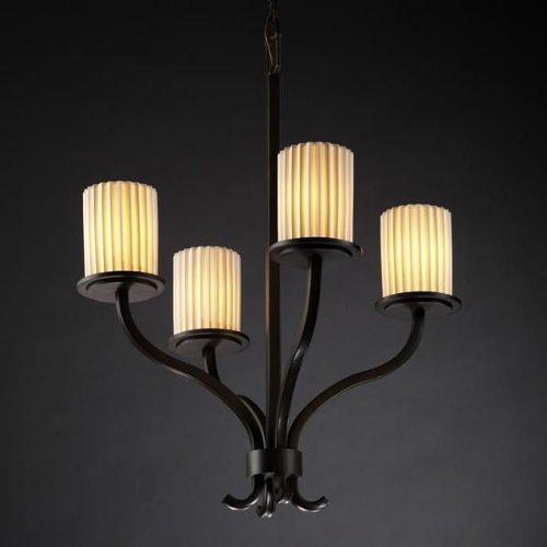 Justice Design Group POR-8780-10-SAWT-NCKL Limoges Collection Sonoma 4-Light Chandelier