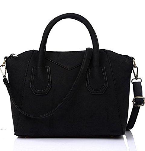 Womens Style Vincenza Leather Designer Large Shoulder Handbag Black Suede Tote amp; Bag ER4TqR