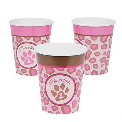 1st Birthday Cheetah Cups 2 sets