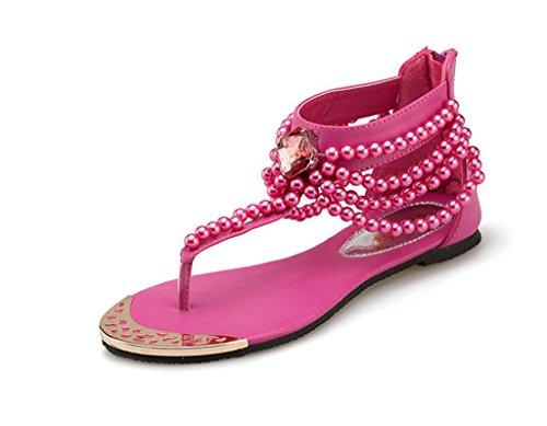 Women'c Flat Leisure Gldiator Toe Sandals Sandals Clip Fashion Rose Beach Doris Red Shoes FaxTRw5q
