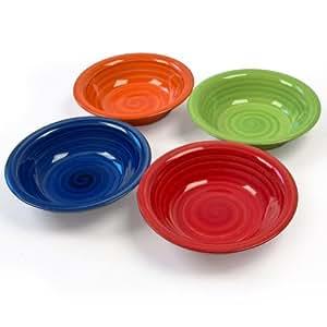Pack 4 platos hondos para sopa cer mica de colores hogar - Platos ceramica colores ...