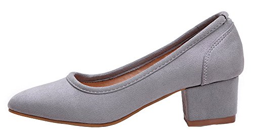 AmoonyFashion Womens Square-Toe Kitten-Heels Imitated Suede Pull-On Pumps-Shoes Gray J93ptjFP