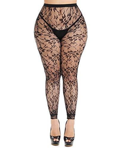Women's Lace Fishnet Leggings Plus Size Footless Tights Floral Capris (Black1, Plus Size)