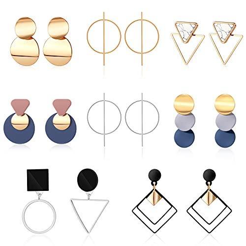 CHANBO 8 Pairs Women's Earrings Korean Acrylic Drop Earrings For Women Geometric Round Gold Earrings Female Jewelry