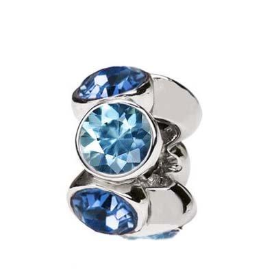 Sterling Silver Swarovski Crystals Alternative Bead Charm Montana Blue and Light Blue (Crystal Roundels Light)