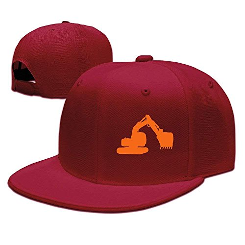 Outdoor Orange Excavator Flat One Size Baseball Caps Camping Gym Hat Low Profile