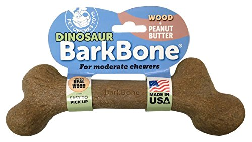 Pet Qwerks Dinosaur Wood BarkBone with Peanut Butter Dog Chew Toy (Made in the USA)