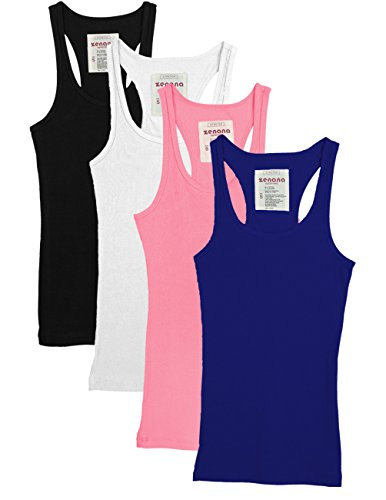 Zenana Outfitters 4 Pack Womens Basic Ribbed Racerback Tank Top BLACK/WHITE/PINK/ROYAL ()