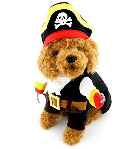 SELMAI Pirate Dog Cat Costume Coat with Adjustable Hat Skull Print Small Puppy Pet Clothing XS (Holloween Pirate Costumes)