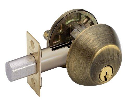 (Schlage B360NV609 Single-Cylinder Deadbolt, Antique Brass)