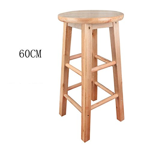 GZD Bar stool, Retro kitchen stools High Stool Round Bar Stools Wood Seat With the backrest Breakfast Bar, All solid wood height 45cm/53cm/60cm/70cm/80cm for Kitchen Counter Bar, 45cm, ()